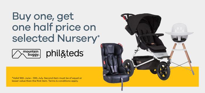 Buy one get one half price on selected nursery*